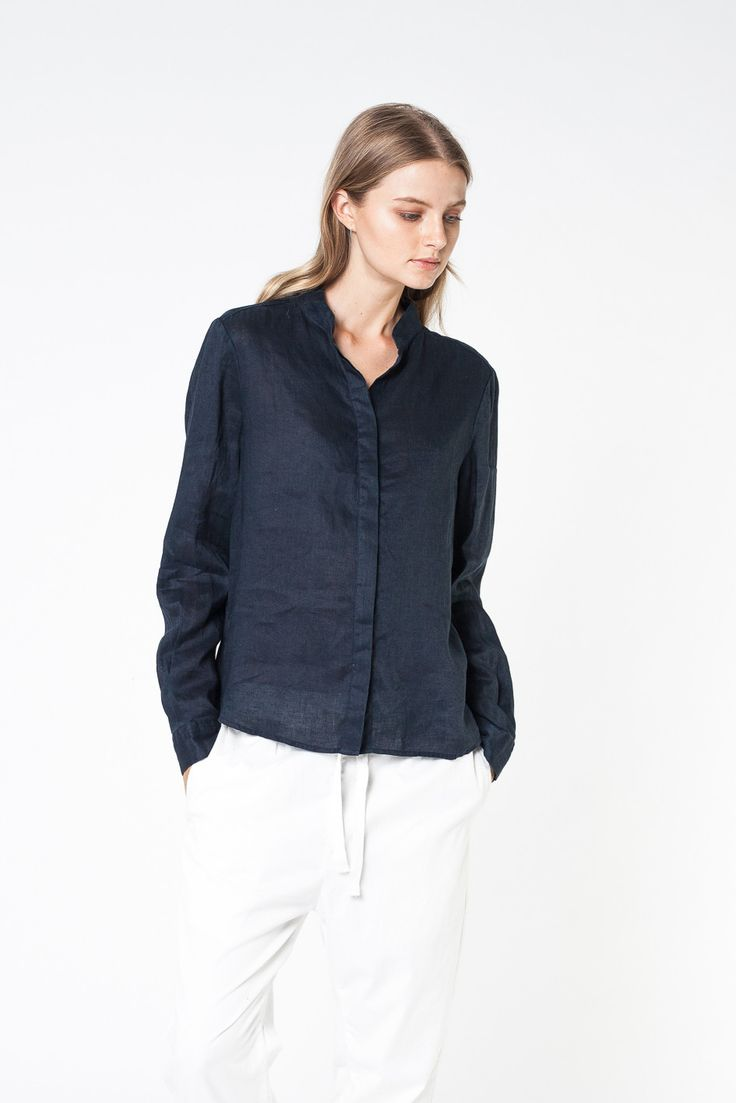 STILL L/S SHIRT NAVY - SHIRTS - SHOP WOMENS Assembly Label
