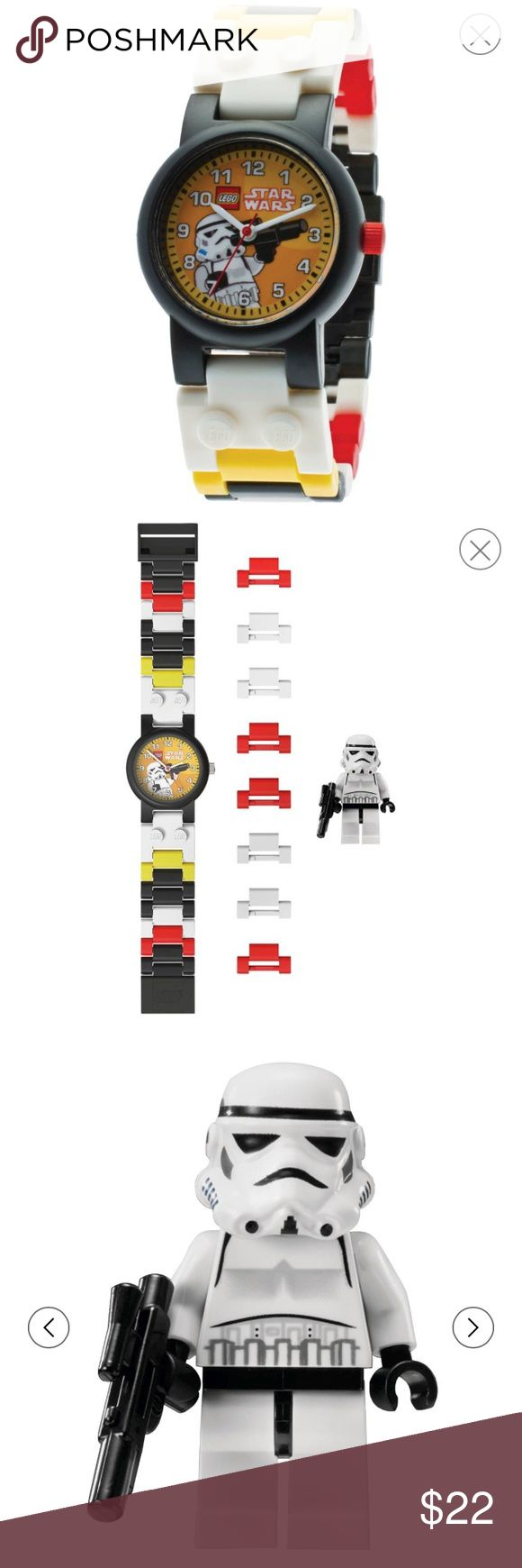 LEGO® Star Wars Storm Trooper Watch + Mini Figure LEGO® Star Wars Storm Trooper Watch with Mini Figure Your little Star Wars fan can build his own timepiece with the LEGO Star Wars Stormtrooper watch. It comes with a Stormtrooper mini figure for extra playtime fun. This LEGO kids' watch has a face with the image of a Stormtrooper and 19 multicolored pieces that can be assembled in any pattern to create a customized wristband. It has a clasp closure for easy wear and removal. The watch is…