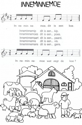 liedje over boerderijdieren: lekker loeien, kakelen, enz.