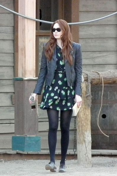 Amy Pond (Doctor Who ) in a Whistles Beatrice Pineapple Print Dress.