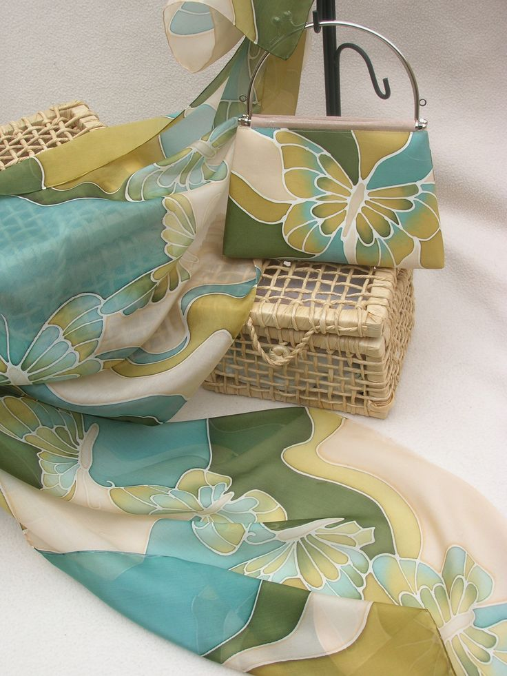 Hand painted silk - matching set   Silk scarf and handbag. New butterfly collection