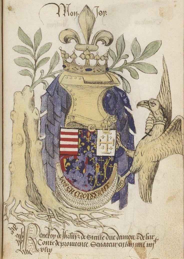 René d'Anjou, Roi de Naples, de Sicile, de Jérusalem et d'Aragon, duc d'Anjou, de Lorraine et de Bar, comte de Provence, sénateur du Croissant (1449), Armorial des chevaliers de l'ordre du Croissant.