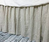 Natural Linen Ticking Stripe Bedskirt Natural Linen Ticking Striped Dust Ruffles Linen Dust Ruffle Shabby Chic Bedding Twin Bed Skirt Queen Bed Skirt King Bed Skirt HANDMADE FREE SHIPPING