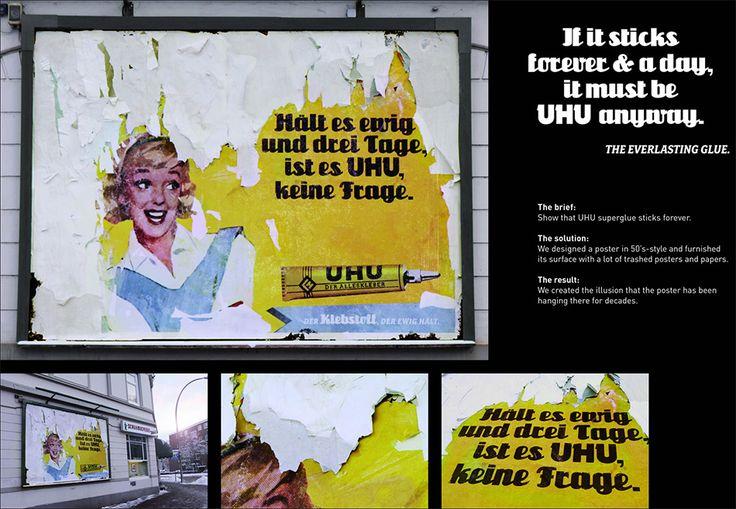 Kako se reklamirati sa UHU-ovim proizvodom lepkom: nepoderivi retro UHU poster iz prošlog veka  Firma UHU je proizvođač lepka sa sedištem u Bühl-u, Nemačka, web sajt UHU firme je www.uhu.com.  UHU univerzalni lepak je proizvod koji se koristi za lepljenje poroznih i neporoznih površina: papira, kartona, drveta i raznoraznih materijala a lepi veoma brzo i dugotrajno drži.  Zbog tih karakteristika proizvoda lepka firma UHU je smislila genijalan način kako se reklamirati sa svoj…