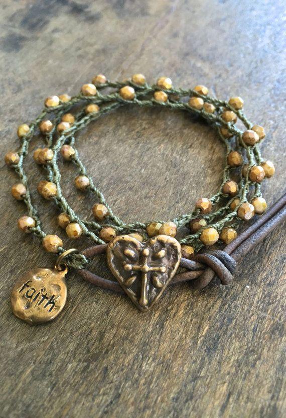 Cross Heart Crochet Bracelet Knotted Beaded by TwoSilverSisters
