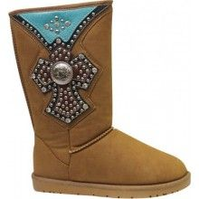 TAN SUEDE TALL BOOT WITH BLING CROSS
