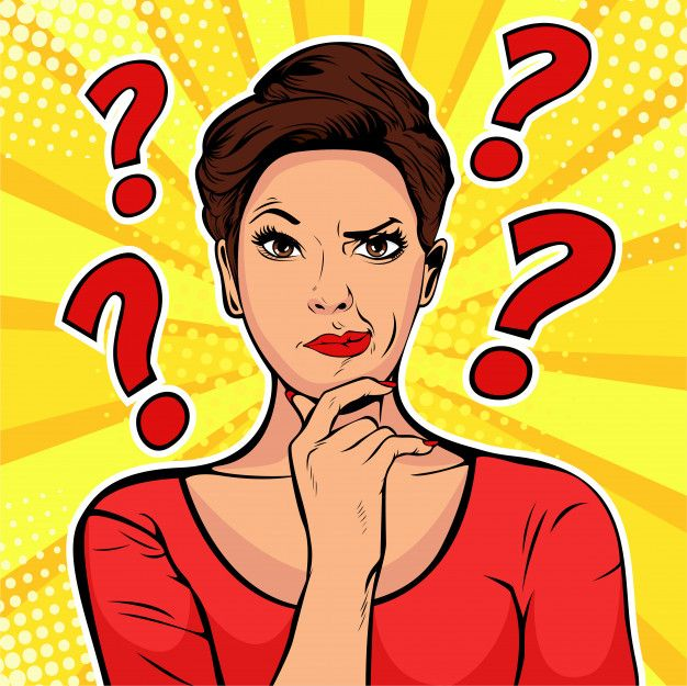 Pop Art Woman With Skeptical Expressions And Question Marks Pop Art Women Pop Art Comic Pop Art
