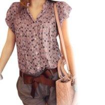 Allegra K Woman Dotted Split Neck Short Sleeve Blouse Tops Pastel M