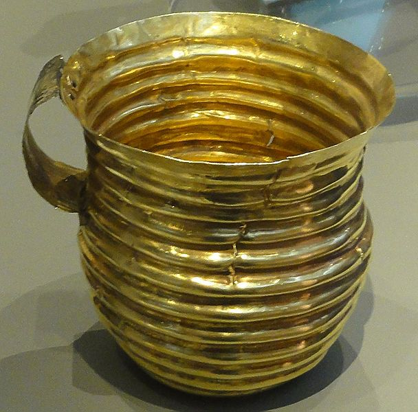 Rillaton Gold Cup, 2300 BC a biconical gold vessel, 90mm high, with a handle attached with rivets. Found in Cornwall. British Museum
