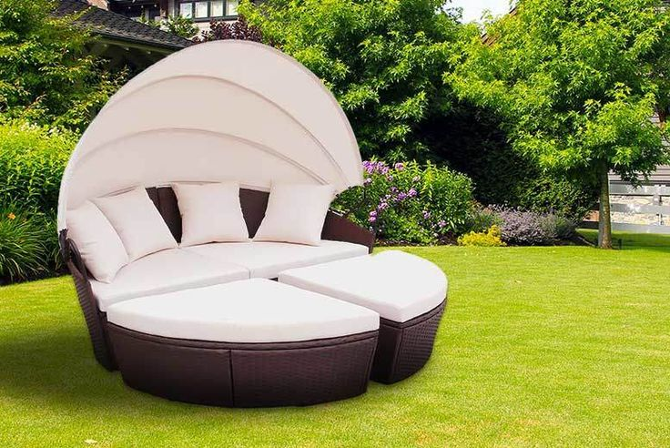 Rattan Bali Day Bed - 2 Colours! deal in Sheds & Garden Furniture Make your garden gorgeous with a circular Bali-style rattan day bed.  Boasts two quarter-wedge seat pieces and one half-circle seating piece.  Pulls together to make a circular bed. Choose from black or brown rattan.  Made using beautiful wicker weave - weather, light and stain resistant.  Comes with four washable scatter...