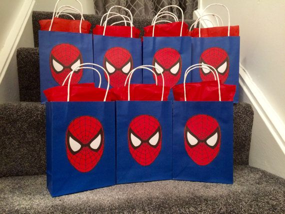 Spiderman Party Bags by Bagsoffunpartybags on Etsy - Visit to grab an amazing super hero shirt now on sale!
