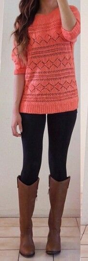 Coral, black Leggings & cognac boots