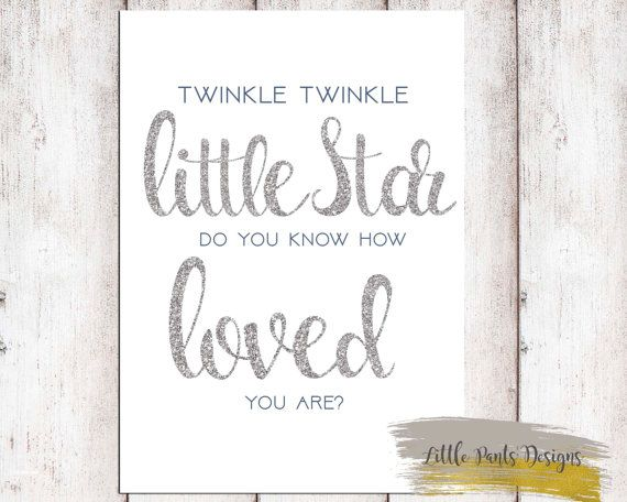 Twinkle Twinkle Little Star Glitter Silver & Navy Digital Print for Nursery or Card Boy Printable Do you know how loved you are by LittlePantsDesigns