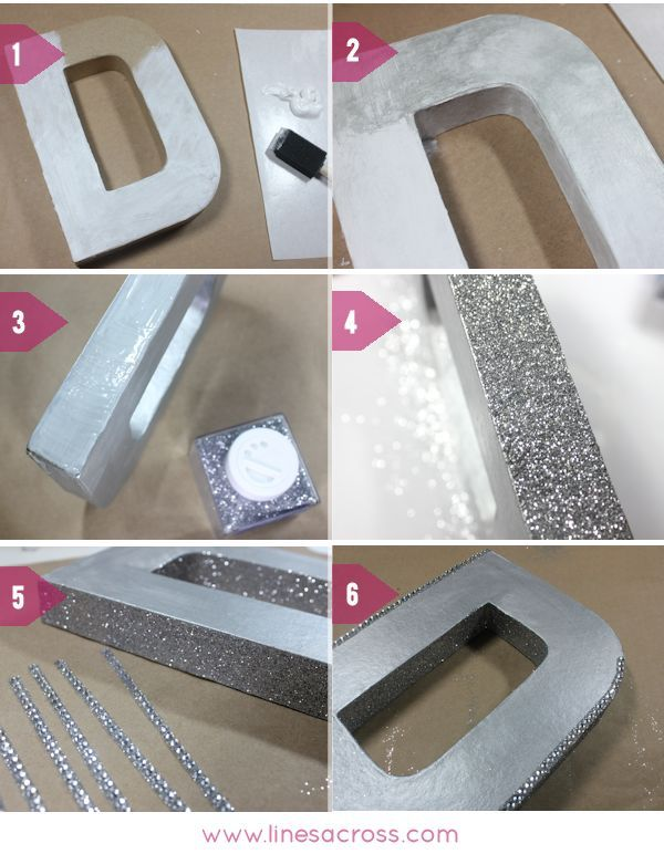 Lines Across Reviews: DIY Sparkling Metallic Wedding Initials
