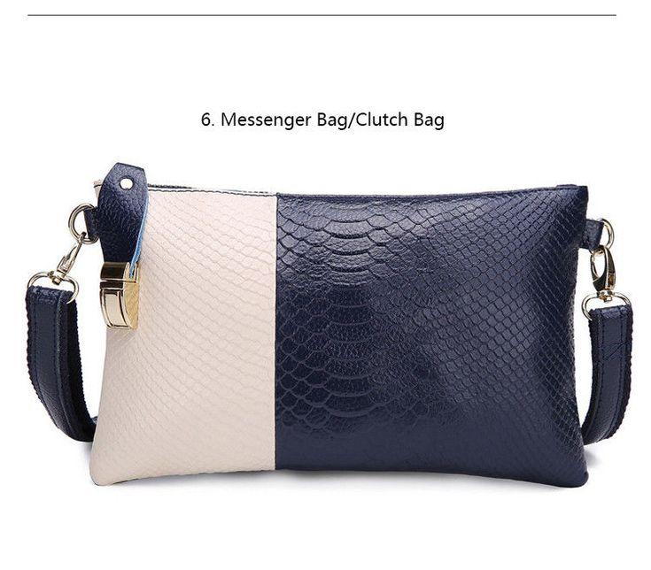 Genuine Cow Leather Striped Clutch Bag Women Leather Snakeskin Messenger Bag NEW #Samplaner #ClutchBag