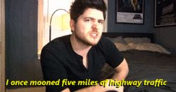 "(gif) ""I once mooned five miles of highway traffic...And I was driving. Kidding. It was eight miles."""