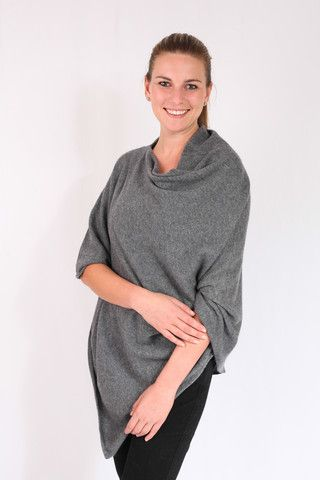 Light Charcoal 100% Cashmere Poncho for sale online in South Africa – Pebble&Jack