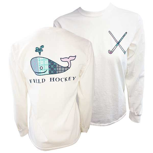 Field Hockey Long Sleeve Back Whale Tee