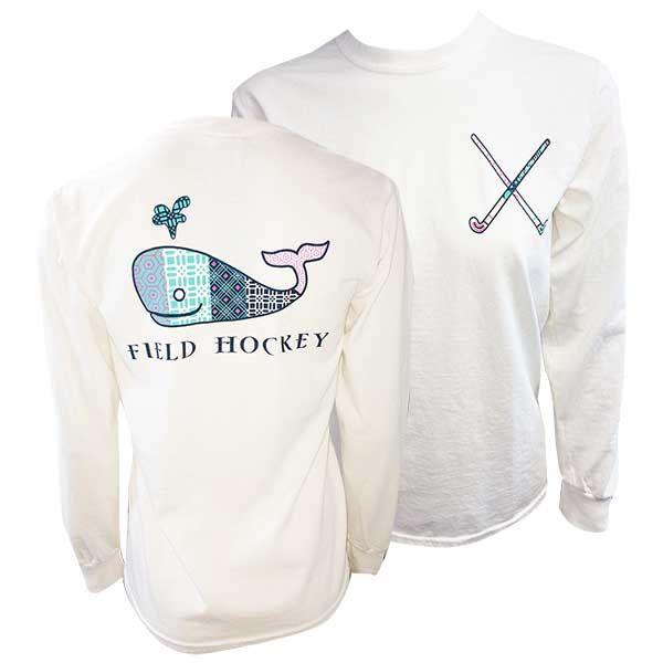 Field Hockey Long Sleeve Back Whale Tee