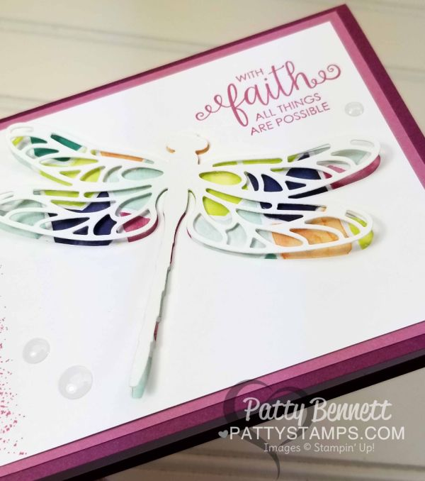 "Detailed Dragonfly ""faux stained glass"" card featuring Stampin' Up! Naturally Eclectic designer paper, Touches of Texture and Ribbon of Courage stamp sets, by Patty Bennett"