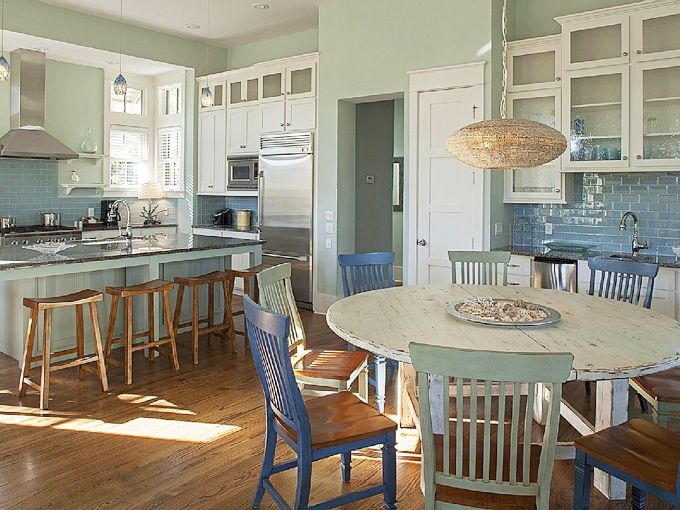 Beach house kitchen dining area serenity lake front home dining rooms pinterest table Kitchen design center virginia beach