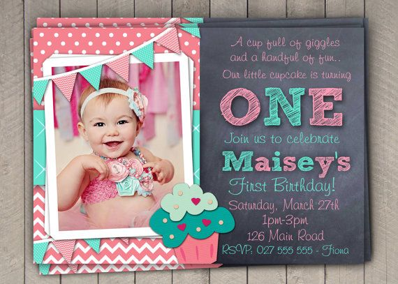 Girls 1st Birthday Invitation / First Birthday Cupcake  Invitation / Printable Download /  Pink Aqua Cupcake Invite / Digital Chevron (6) on Etsy, $10.00