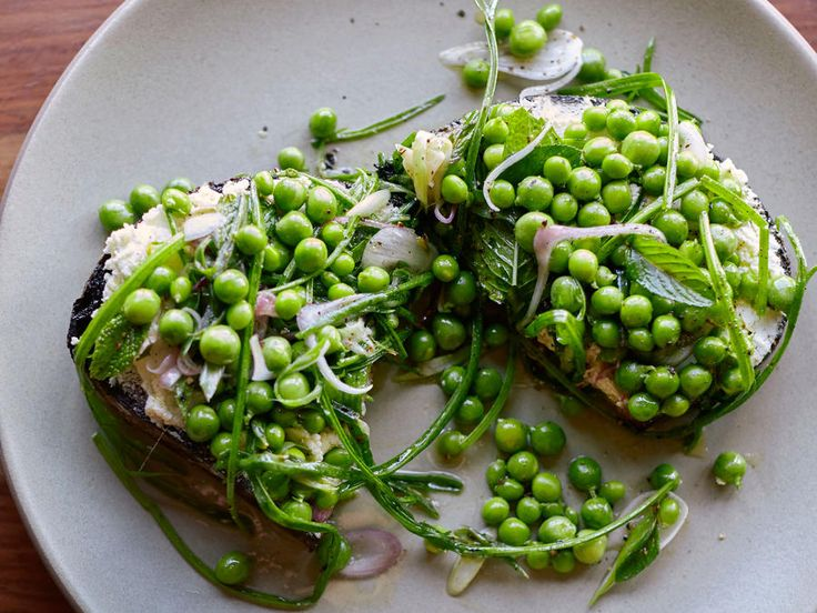 """""""A perfect showcase for the early-season peas, this toast can be an appetizer, a first course, or a light main course,"""" says chef Joshua..."""