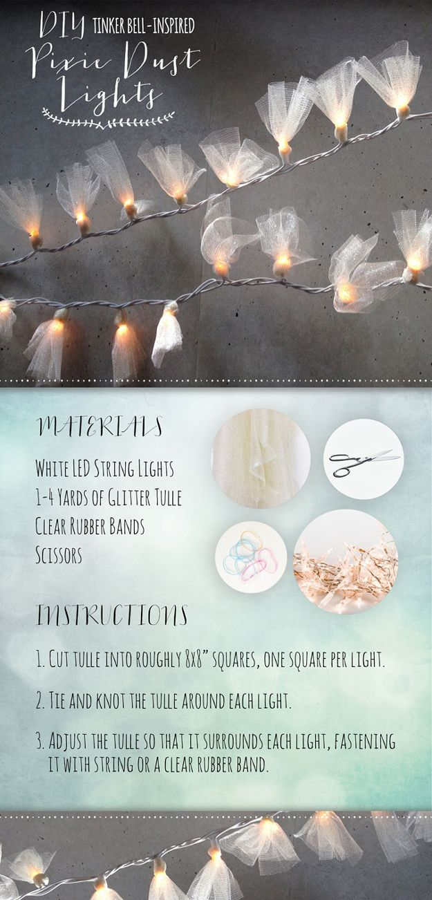 String Light DIY ideas for Cool Home Decor | Tinkerbell Inspired Pixie Dust Lights are Fun for Teens Room, Dorm, Apartment or Home | http://diyprojectsforteens.com/diy-string-light-ideas/