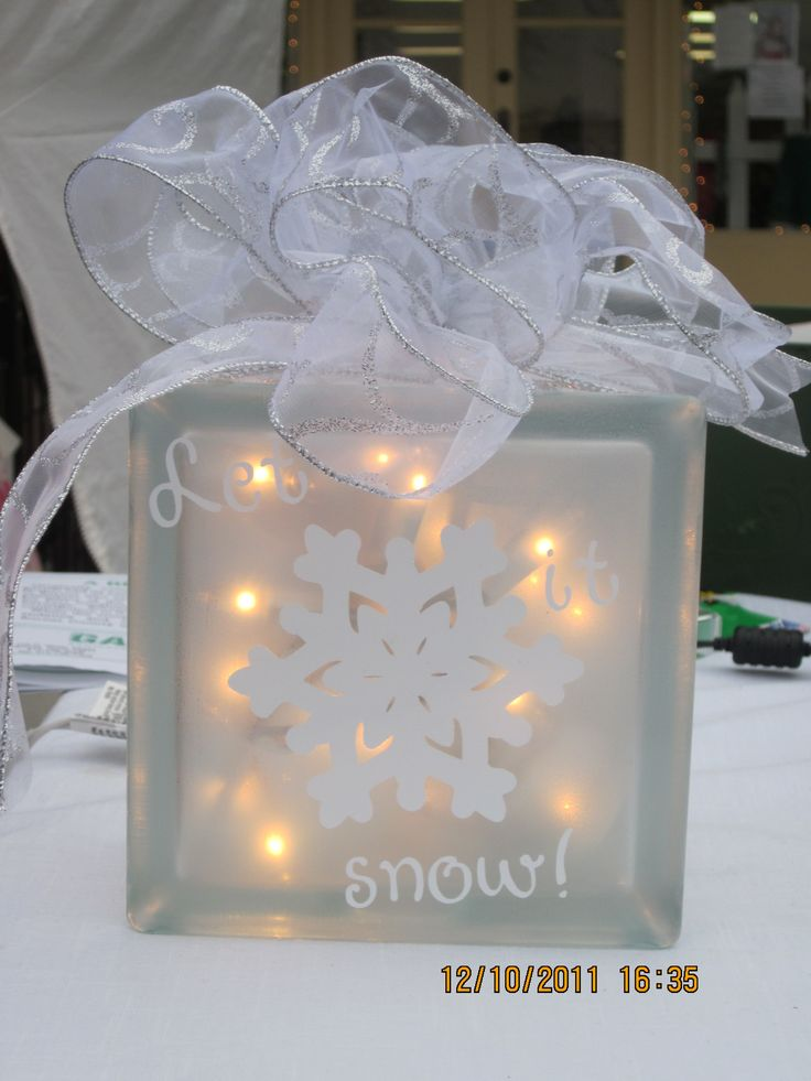 Let it Snow Glass Block