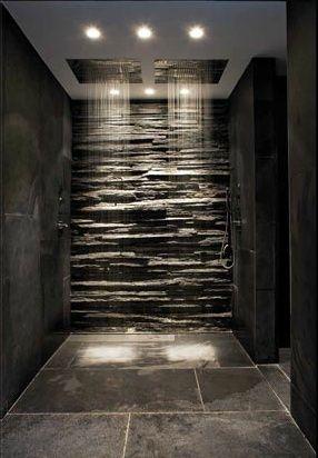 Dark slate tiles with dual rain showers. In love!!