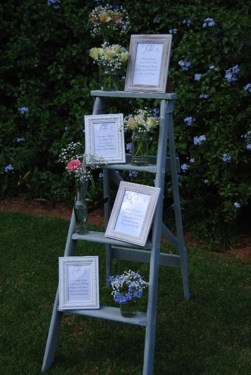 Wooden ladder with Table Seating Plan