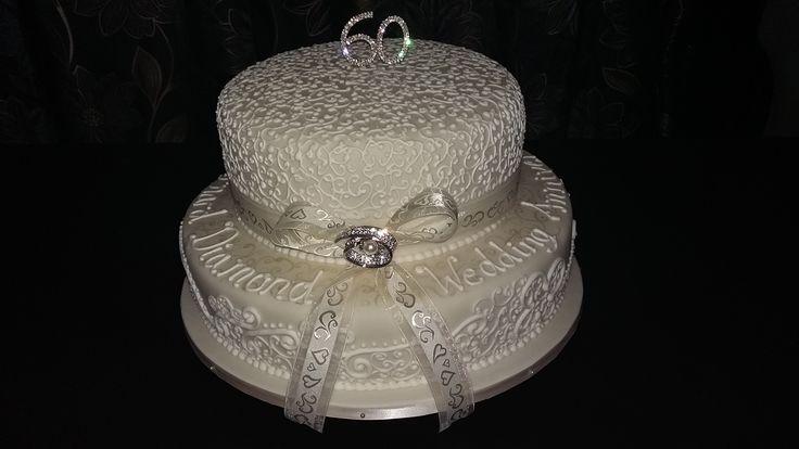 2 Tier Diamond Wedding Anniversary Cake in Ivory & White