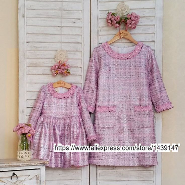 Wholesale clothing family matching clothes mother and daughter dresses Coarse Silver thread woolen dress Party Dress 3xl 4xl 2xl