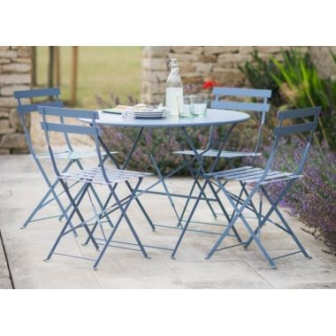 Metal Garden Bistro Set Of Table And 2 Chairs In Dorset Blue Rive Droite From Trading Sc 1 St Pinterest