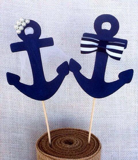 Nautische Anker Braut & Groom Cake Topper/Navy Hochzeit/Coast