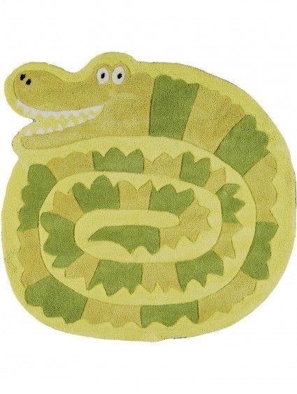 Beautiful Kinderteppich Crocodile Gr n cm rund