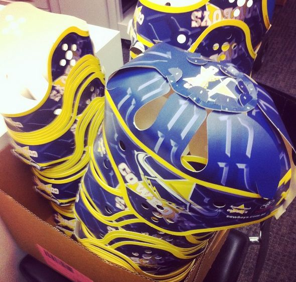 Nice fun take on the player mask. Here's the NRL North QLD Cowboys with their star player Jonathon Thurston and his headgear. 5000 to be handed out to fans for free at tonights game against Cronulla