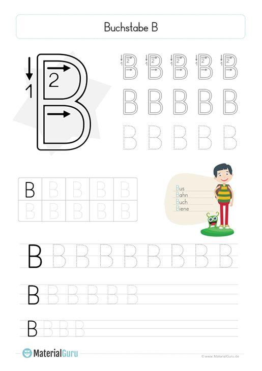 arbeitsblatt buchstabe b druckschrift  großbuchstabe b