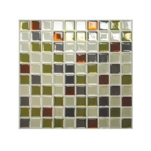 smart tiles 985 in x 985 in adhesive decorative wall tile backsplash idaho in grey - Abnehmbare Backsplash Lowes