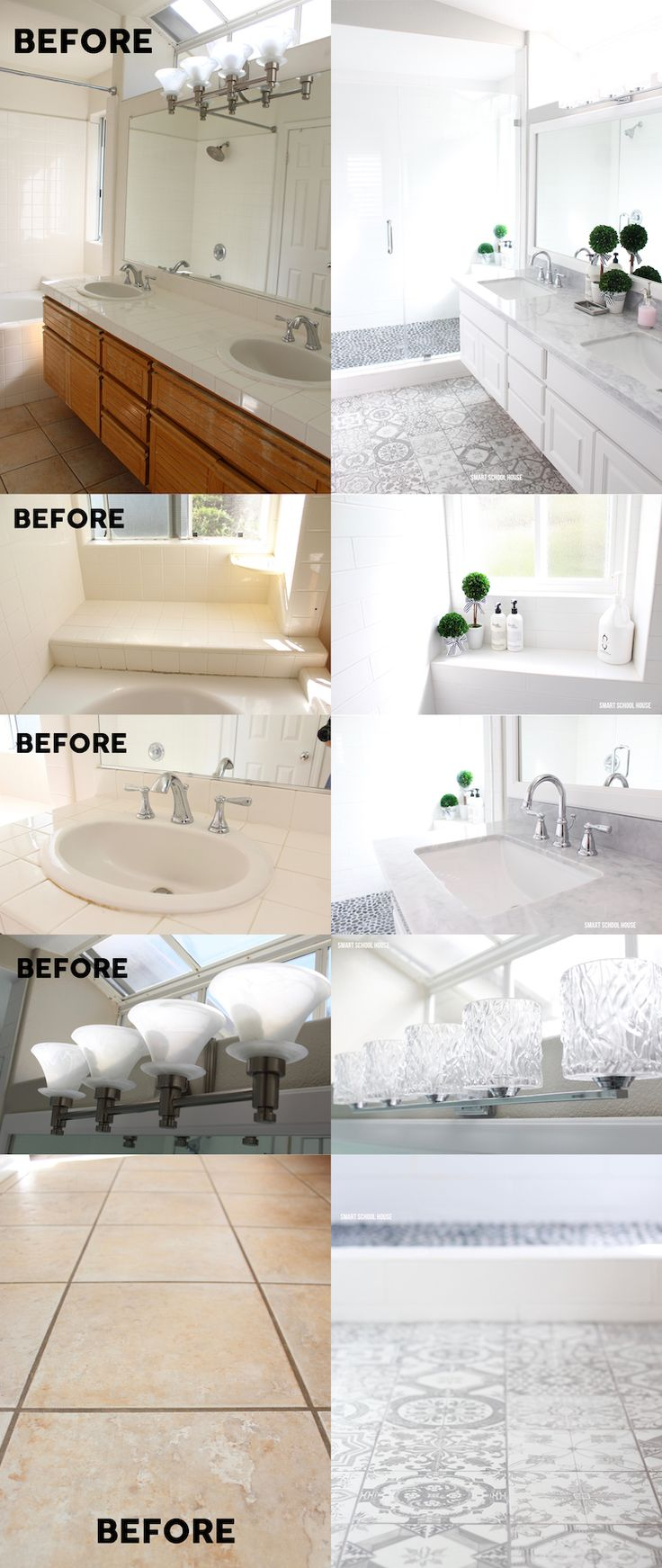 Gray and White Bathroom Makeover - Gray and white bathroom ideas. GORGEOUS results with just two colors: gray and white! Rustic pattern floor...