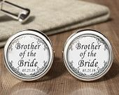 Brother Of The Bride Wedding Cufflinks - Wedding Cuff Links - Wedding Party Present - Wedding Gifts - Gift For Usher - Grooms Cuff Links