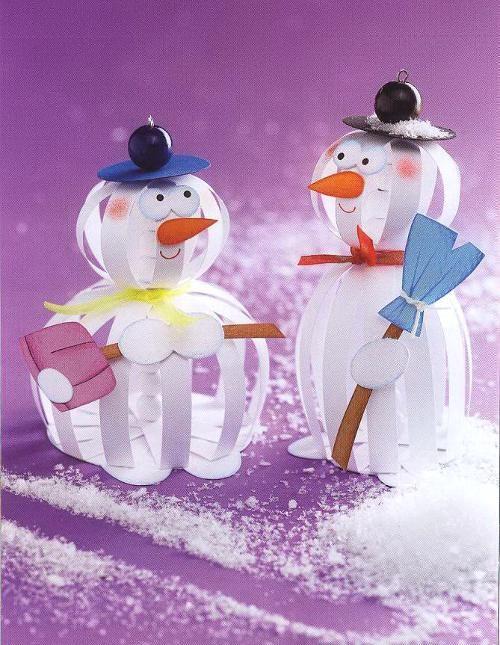 Boules de Noël avec ses mains, de l'artisanat, cadeaux pour Noël, Nouvel An dans l'art de boules de papier - Bonhommes de neige