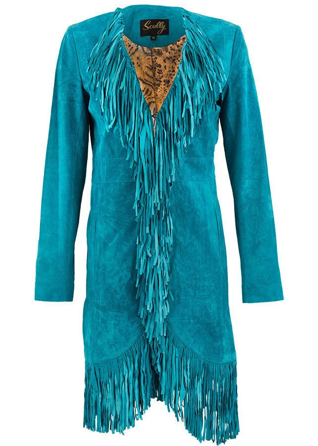 Pinto Ranch - Scully Suede Long Fringe Maxi Coat - Turquoise, $415.00 (https://www.pintoranch.com/scully-suede-long-fringe-maxi-coat-turquoise-6.html)