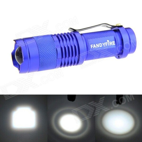 FANDYFIRE XP-E Q5 LED 400lm 1-Mode Zooming Bright White Light Flashlight - Blue (1 x AA / 14500). Color Blue Quantity 1 Piece Material Aluminum alloy Emitter Brand Others,N/A LED Type XP-E Emitter BIN Q5 Color BIN Cool White Number of Emitters 1 Working Voltage 1.2~3.7 V Power Supply 1 x 14500 / AA battery (not included) Current 1.8 A Theoretical Lumens 500 lumens Actual Lumens 400~500 lumens Runtime N/A Hour Number of Modes 1 Mode Arrangement Hi Mode Memory No Switch Type Reverse clicky…