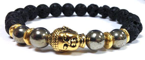 Black Lava, Pyrite, gemstones, Beaded, Bracelet, Gold Buddha for MEN