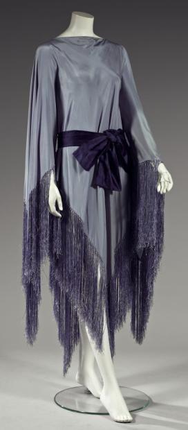 Madeleine Vionnet (French, Chilleurs-aux-Bois 1876–1975 Paris) Dress shawl fringed crepe, circa 1921