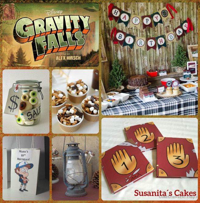 Ideas para una Fiesta muy Original...Gravity Falls!!....mas en www.facebook.com/SusanitasCakes ó instagram @ susanitascakes  #ideas #fiestainfantil #partyideas #camping #campparty #gravityfallsparty #gravityfalls #disney #disneyparty #susanitascakes #talentovenezolano