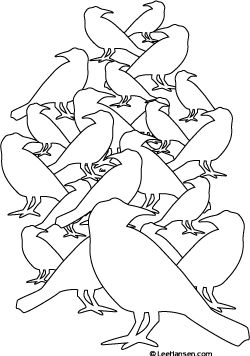 Complicated design, bird flock coloring page for teens or adults
