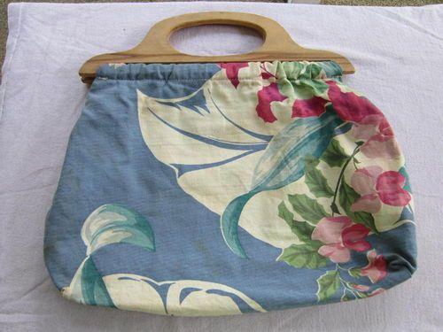 Vintage Knitting Bag : Vintage bark cloth knitting bag bags