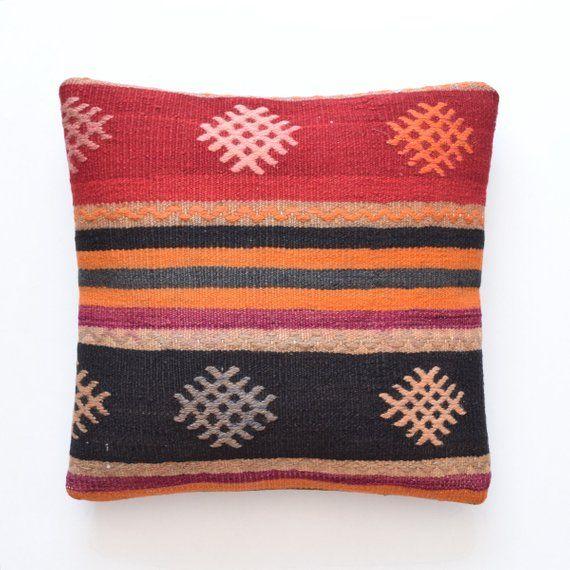 Kilim Pillow Kelim Kissen Turkish Cushion Kussenhoes 16 X 16